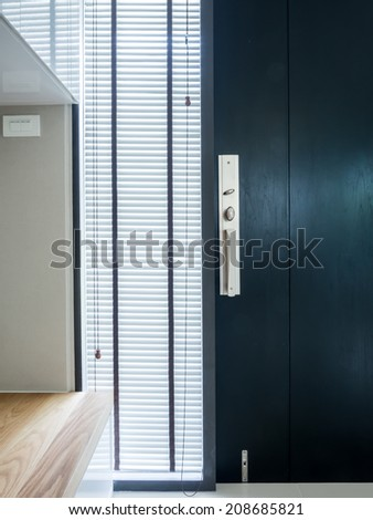 Modern interior with timber blind and door design