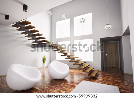 Modern interior with white armchairs and wooden staircase 3d render
