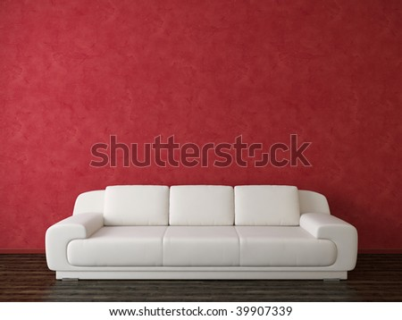 Modern interior with white sofa and red stucco wall - more variations in my portfolio
