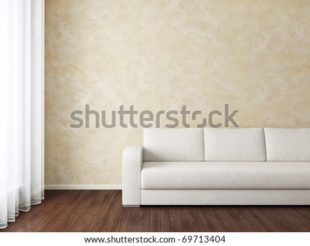 Modern Interior with white sofa near brown wall and window - stock photo