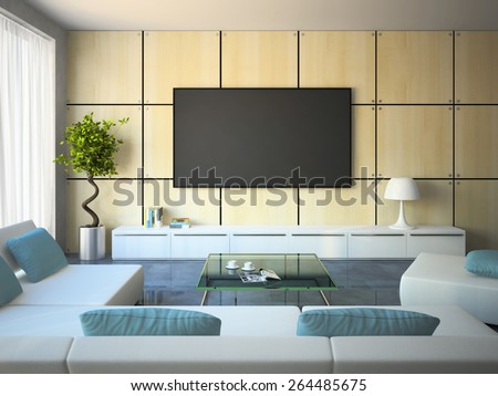Modern interior with white sofas and blue pillows 3D - stock photo