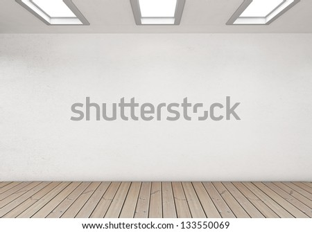 modern interior with wooden floor - stock photo