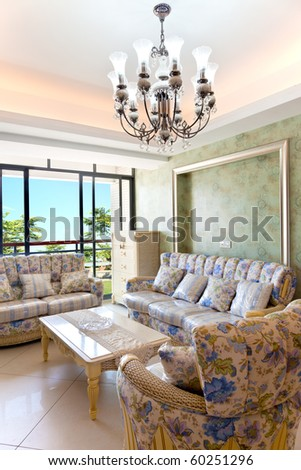 Modern interiors,living-room with the modern rattan furniture - stock photo
