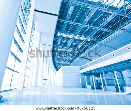 Modern international airport terminal - stock photo