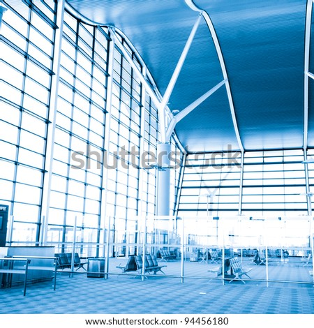 Modern international airport terminal - stock photo