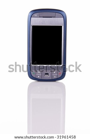 Modern internet capable cellphone standing up on white with clearly visible reflection in the front.  Space on the blank screen for your own image or text. - stock photo