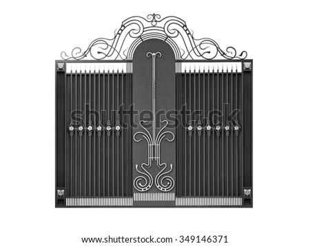 Modern  iron  decorative  gates.  Isolated over white background. - stock photo
