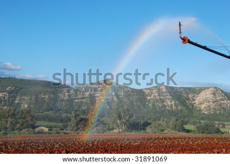Modern irrigation pivot system watering a farm land - stock photo