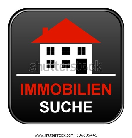 Modern isolated black Button with symbol showing search for real estates in german language - stock photo