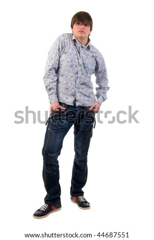 Modern Jeans Young Adult Man. Studio Shoot Over White Background. - stock photo