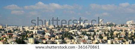 Modern Jerusalem panoramic view. Modern buildings of the holy land, touristic locations of the Middle East - stock photo