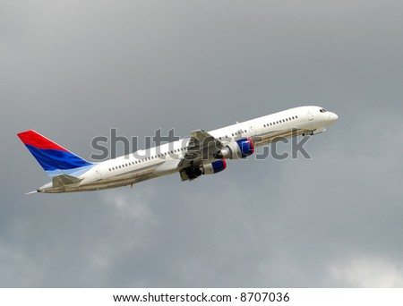 Modern jet airplane Boeing 767 - stock photo