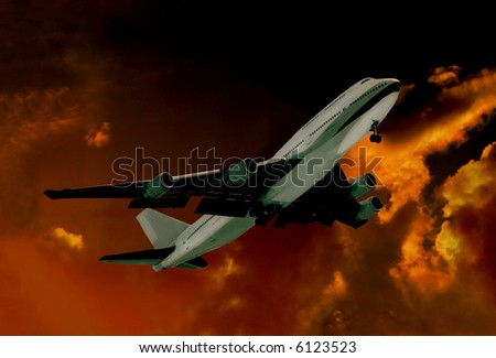 Modern jet Liner Taking Off at Sunset - stock photo