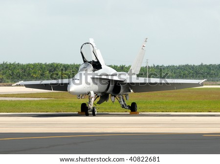 Modern jetfighter front view - stock photo