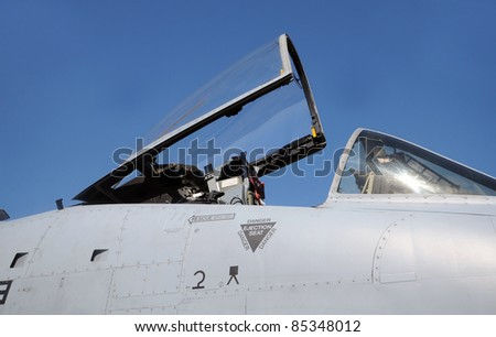 Modern jetfighter single pilot open cockpit - stock photo