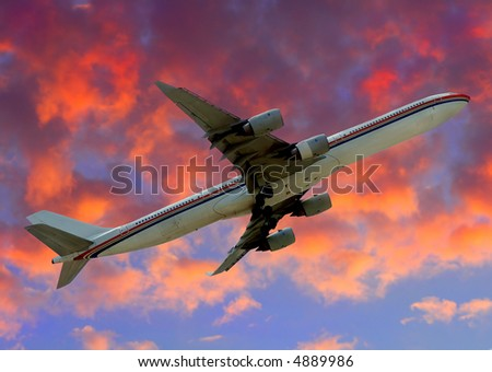 Modern Jetliner departing into the friendly skies - stock photo