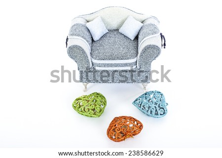 Modern Jeweler sofa with christmas decoration - stock photo