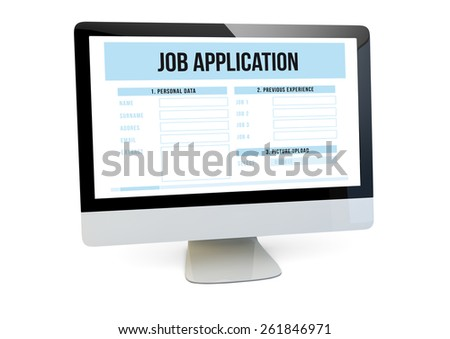 modern job search online concept: render of a computer with job application form on the screen - stock photo