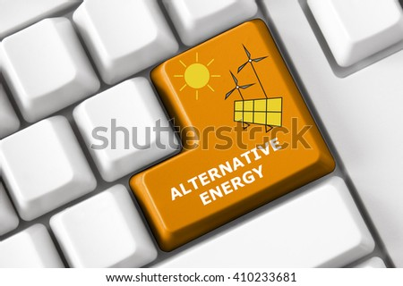 Modern keyboard alternative energy symbol set. Smart city concept - stock photo