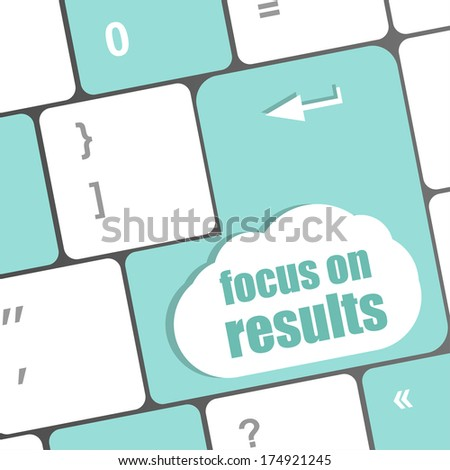Modern keyboard focus on results text. Technology concept - stock photo