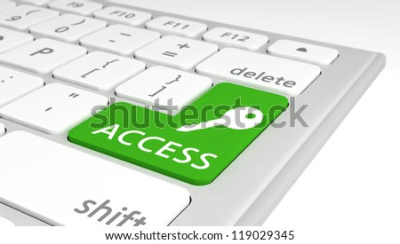 Modern keyboard with a special access key as a concept of computer security. Selective focus on the word Access.