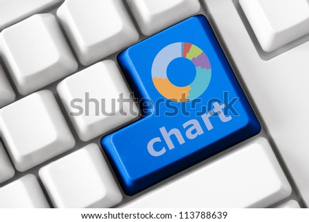 Modern keyboard with color button and chart. Concept - stock photo
