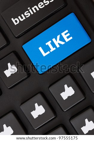 Modern keyboard with like text with thumbs up symbols. Like concept - stock photo