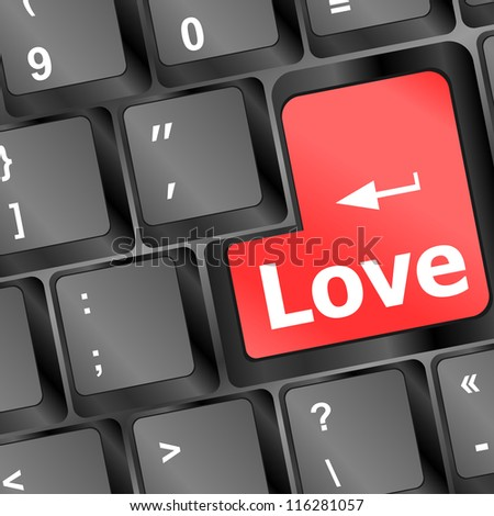 Modern keyboard with love text symbols. Social network concept. raster