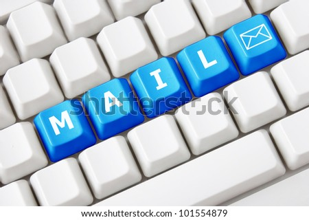 Modern keyboard with text mail on buttons and letter symbol.Concept