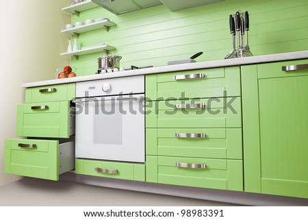 Kitchen cabinets stock photos illustrations and vector art