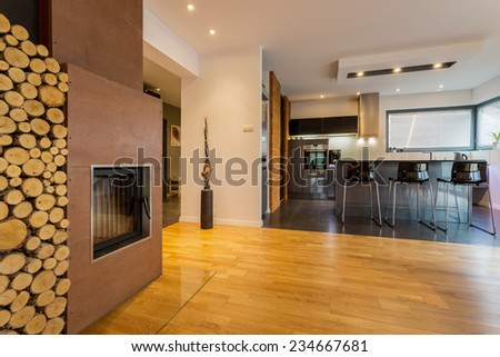 Modern kitchen and drawing room with fireplace - stock photo