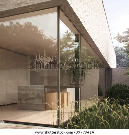 Modern kitchen and garden in contemporary house (3D render)