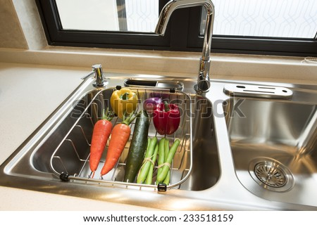 Modern kitchen at home with healthy food - stock photo