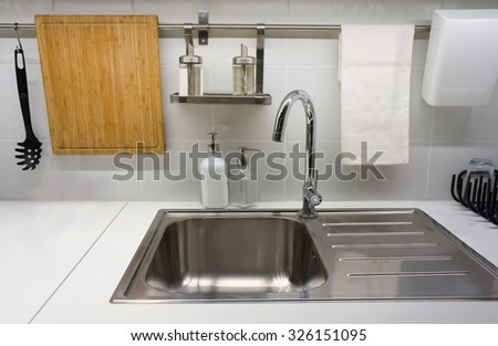Kitchen sink shutterstock - Lavish white and grey kitchen for hygienic and bright view ...