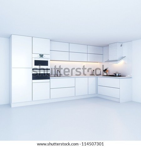 Modern kitchen cabinets in new white interior - stock photo