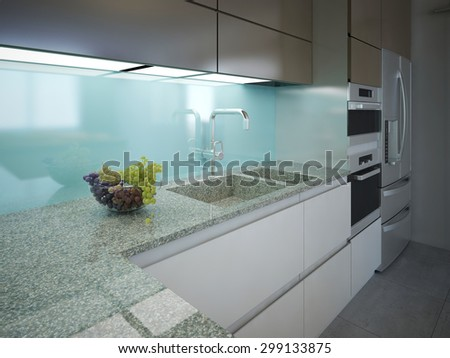 Modern kitchen clean interior design. Marble working area with a light blue wall and built-in lighting. Cabinets white and brown colors, built-in appliances. 3D render - stock photo