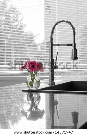 modern kitchen counter, sink, faucet & flowers - partially toned - stock photo