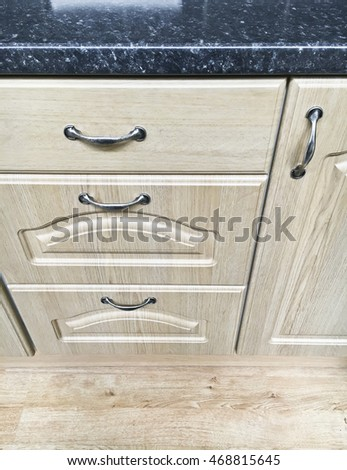 Modern kitchen cupboards and worktop