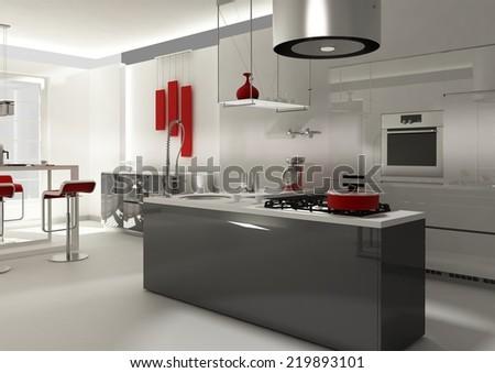 Modern Kitchen 3D Interior Rendering - stock photo