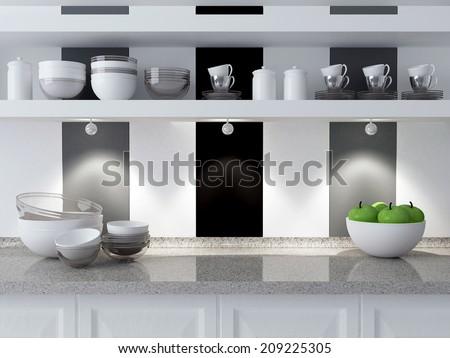 Modern kitchen design. Ceramic kitchenware on the marble worktop. Plates, cups on the shelf. - stock photo