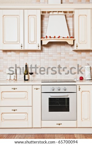 Modern kitchen design is extremely stylish and wood-flor. - stock photo