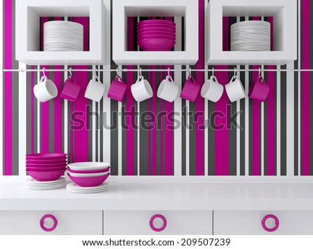 Modern kitchen design with white furniture. Ceramic kitchenware on the shelf in front of striped wall. - stock photo