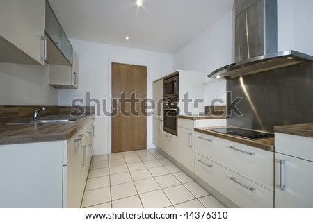 modern kitchen detail with separate work areas - stock photo