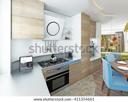 Modern kitchen-dining room in the style of contemporary. Kitchen with light wood dining table for six persons. 3D render.