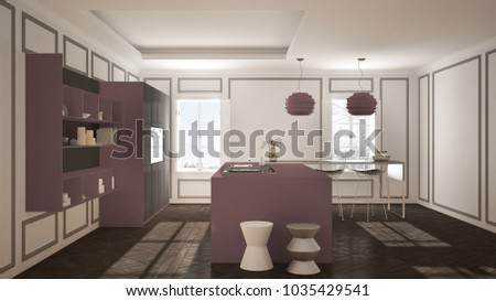 Modern kitchen furniture in classic room, old parquet, minimalist architecture, gray and purple interior design, 3d illustration