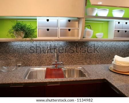 Modern kitchen - home interiors - stock photo