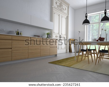 Modern kitchen in an apartment with table and chairs. 3d rendering - stock photo