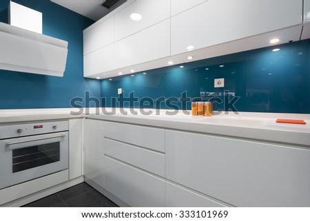 Modern kitchen in luxury apartment - stock photo