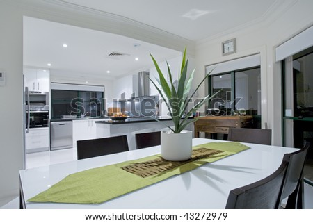 Modern kitchen in luxury mansion - stock photo