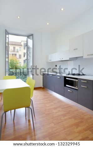 Modern kitchen in new apartment, interior design - stock photo